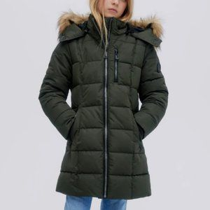 NWT NOIZE Hannah Mid-Length Green Quilted Puffer Jacket Parka - Girls Youth S/8